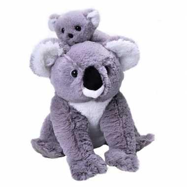 Pluche grijze koala beer met baby knuffel 38 cm