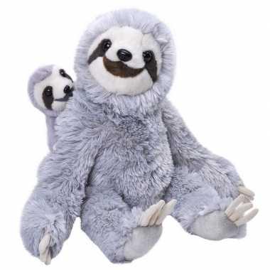Pluche grijze luiaard met baby knuffel 38 cm speelgoed