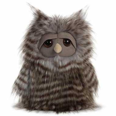 Pluche grijze uil vogel knuffel 28 cm speelgoed