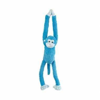 Pluche hangend aapje blauw 55 cm