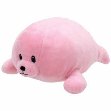 Pluche knuffel roze zeehond ty beanie/baby doodles 24 cm