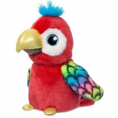 Pluche rode papegaai vogel knuffel 18 cm speelgoed