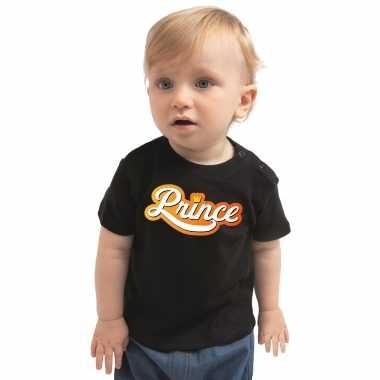 Prince koningsdag t-shirt zwart voor babys