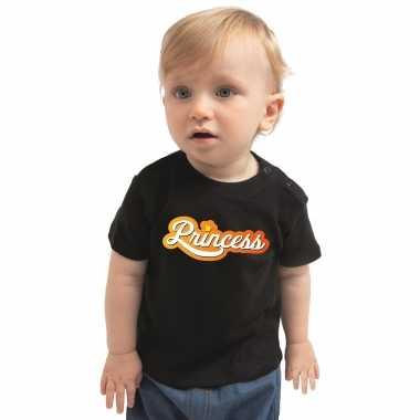 Princess koningsdag t-shirt zwart voor babys