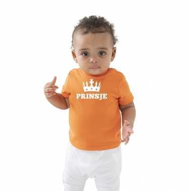 Prinsje met kroon koningsdag t-shirt oranje baby/peuter voor jongens