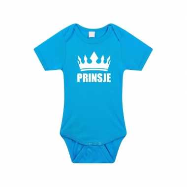 Prinsje met kroon rompertje blauw baby