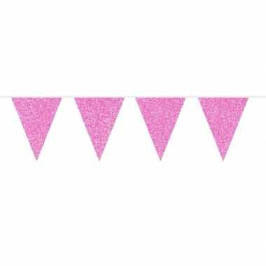 Roze glitter vlaggenlijn 10 meter