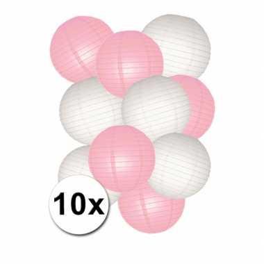 Roze met witte lampionnen pakket 10 stuks