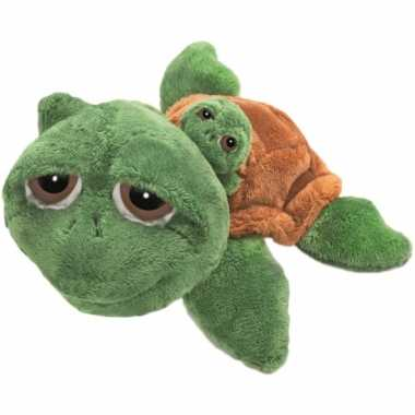 Schildpad knuffel met baby 24 cm