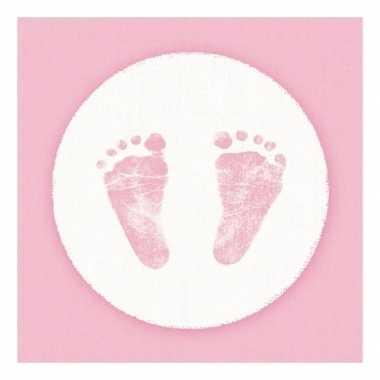 Servetten geboorte meisje roze/wit 3-laags 20 stuks