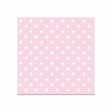 Servetten met stippen roze 3-laags 20 stuks