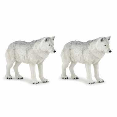 Set van 2x stuks plastic speelgoed figuur witte wolven 9,5 cm
