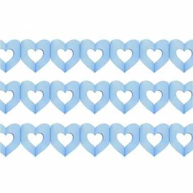 Set van 3x stuks hartjes slingers geboorte jongen blauw 3 meter