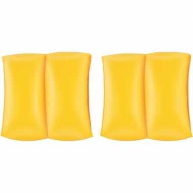 Set van 4x stuks gele zwembandjes voor kinderen 20 cm