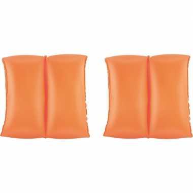 Set van 4x stuks opblaas oranje zwembandjes/zwemmouwtjes 3-6 jaar voor kinderen