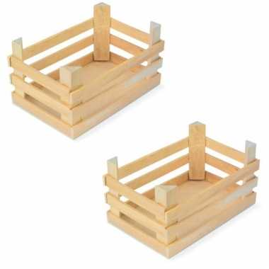 Set van 6x stuks houten kisten/kistjes 18 x 12 x 10 cm