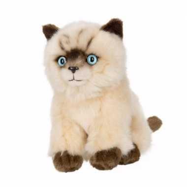 Siamese katten/poezen pluche knuffel 16 cm