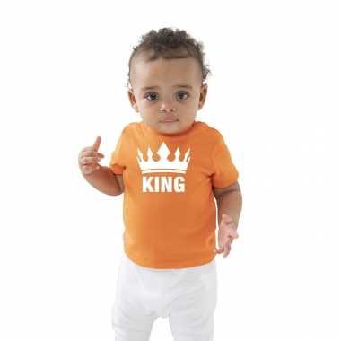 The king met kroon koningsdag t-shirt oranje baby/peuter voor jongens