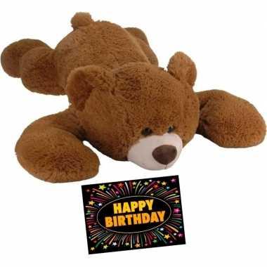 e5bec465cf5cae Verjaardag knuffel beer bruin 120 cm + gratis verjaardagskaart ...