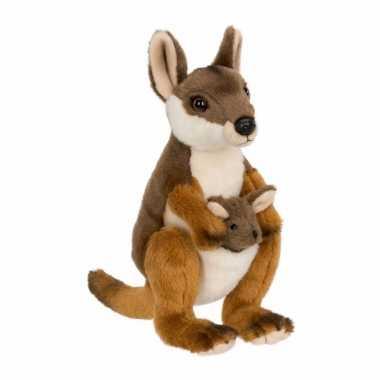 Wnf pluche kangoeroe met baby knuffel 19 cm