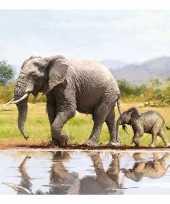 20x olifanten dieren thema servetten 33 x 33 cm