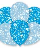 24x stuks blauwe geboorte ballonnen jongen 27 5 cm