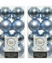 32x lichtblauwe kleine kerstballen 4 cm kunststof mat glans