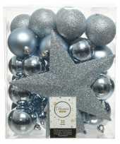 33x lichtblauwe kerstballen met ster piek 5 6 8 cm kunststof mi