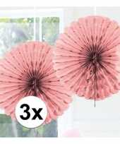 3x decoratie waaier licht roze 45 cm