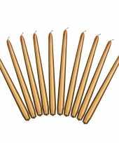 40x stuks dinerkaarsen goud 24 cm