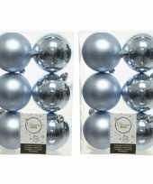 48x lichtblauwe kleine kerstballen 4 cm kunststof mat glans