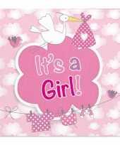 60x geboorte meisje babyshower servetten roze 25 x 25 cm papier