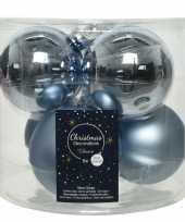 6x lichtblauwe glazen kerstballen 8 cm glans en mat