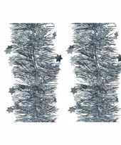 6x lichtblauwe glitter kerstslingers 10 cm breed x 270 cm