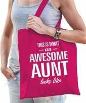 Awesome aunt tante cadeau tas roze voor dames