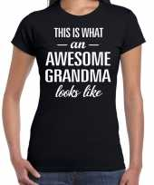 Awesome grandma oma cadeau t-shirt zwart dames