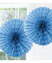 Decoratie waaier licht blauw 45 cm