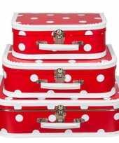 Geboorte kraamcadeau koffertje rood polkadot 25 cm