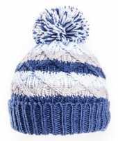 Gebreide winter muts blauw grijs met pompon voor baby