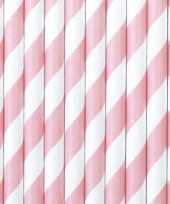 Gestreepte rietjes lichtroze wit 20 stuks van papier