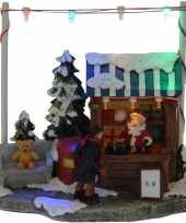 Kerstdorp cadeau kraampje winkeltje 16 cm met led verlichting