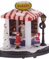 Kerstdorp maken bakkerij marktkraampje met led licht 15 cm