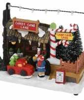 Kerstdorp snoep kraampje winkeltje 17 cm met led verlichting