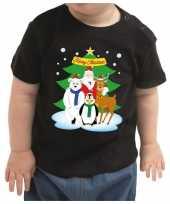 Kerstshirt kerstman dierenvriendjes zwart baby jongen meisje