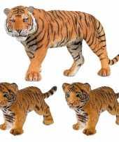 Plastic speelgoed dieren figuren setje tijgers familie van moeder en 2x kinderen