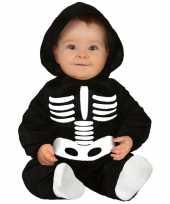 Zwart wit skelet verkleedpak voor baby peuter